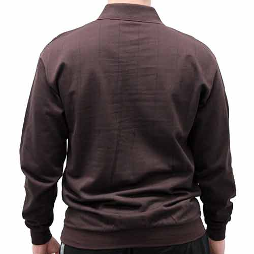 LD Sport Jacquard Long Sleeve Banded Bottom Shirt 6096-500 Big and Tall Brown - theflagshirt