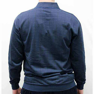 LD Sport Jacquard Long Sleeve Banded Bottom Shirt 6096-500 Big and Tall Cadet Blue - theflagshirt
