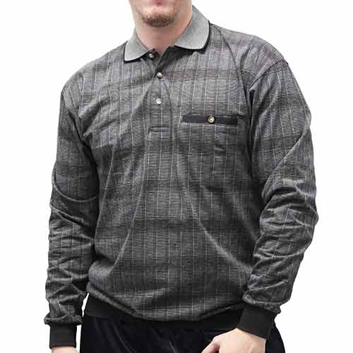 LD Sport Jacquard Long Sleeve Banded Bottom Shirt 6096-502 Big and Tall Grey Heather - theflagshirt