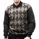 LD Sport Jacquard Long Sleeve Banded Bottom Shirt 6096-505 Big and Tall Black