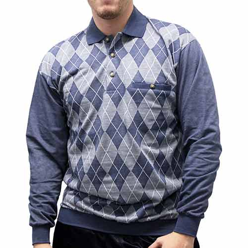 LD Sport Jacquard Long Sleeve Banded Bottom Shirt 6096-505 Big and Tall Blue Hth