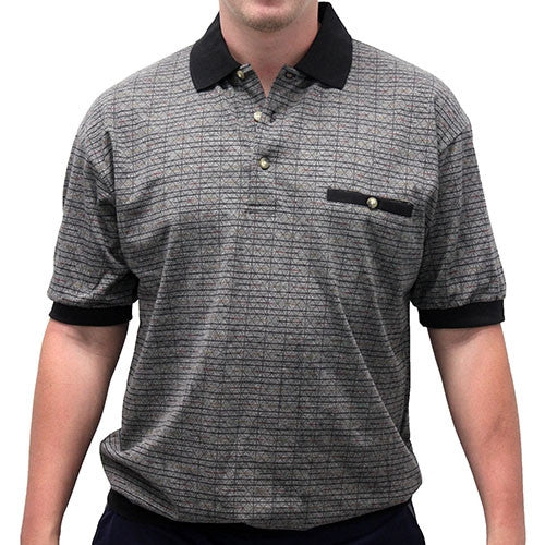 Safe Harbor Allover Short Sleeve Banded Bottom Shirt 6096SS-150 Black - bandedbottom