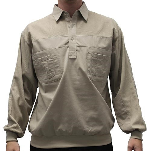LD Sport Four Pocket Woven Long Sleeve Banded Bottom Shirt-Taupe - bandedbottom