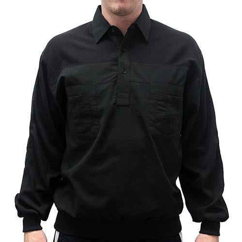 LD Sport Four Pocket Woven Long Sleeve Banded Bottom Shirt -Black - bandedbottom