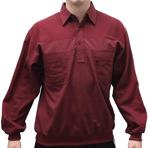 LD Sport Four Pocket Woven Long Sleeve Banded Bottom Shirt -Burgundy - bandedbottom