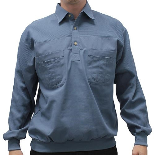 LD Sport Four Pocket Woven Long Sleeve Banded Bottom Shirt Cadet - bandedbottom