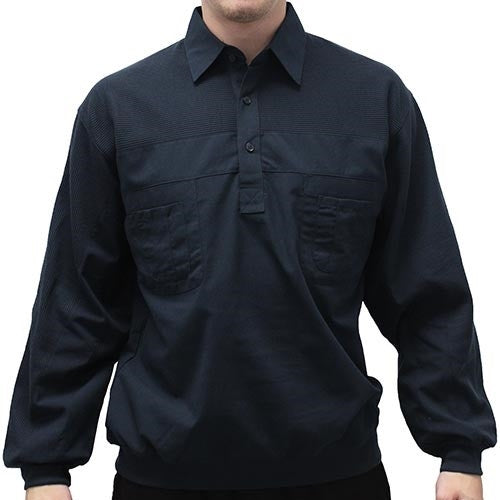 LD Sport Four Pocket Woven Long Sleeve Banded Bottom Shirt-Navy 6097-200 Big and Tall - theflagshirt