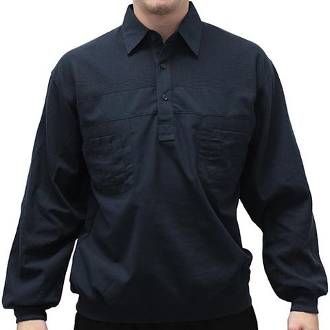 LD Sport Four Pocket Woven Long Sleeve Banded Bottom Shirt-Navy - bandedbottom