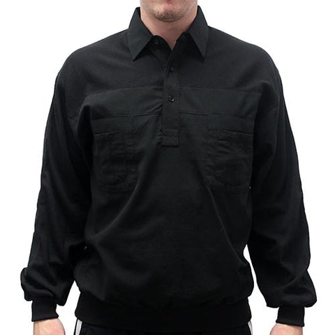 LD Sport Four Pocket Woven Long Sleeve Banded Bottom Shirt -Black- Big and Tall - bandedbottom