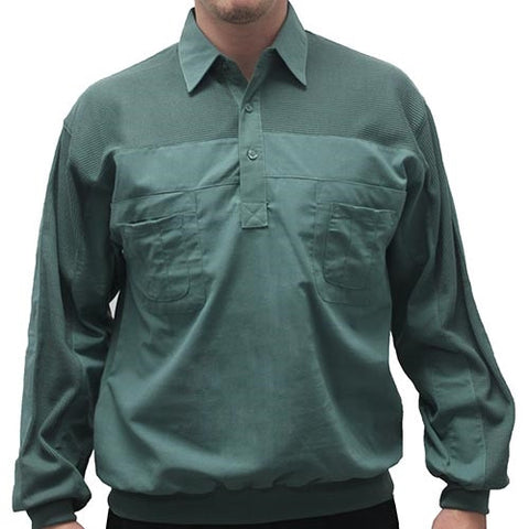 LD Sport Four Pocket Woven Long Sleeve Banded Bottom Big and Tall Shirt-Sage - bandedbottom