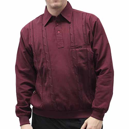 Palmland Cable Knit insert Pullover Burgundy - theflagshirt
