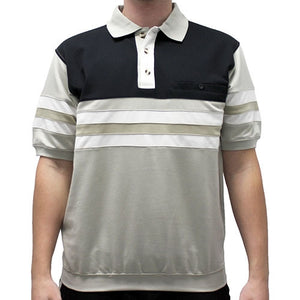 Safe Harbor Short Sleeve Banded Bottom Shirt 6190-111 Stone - theflagshirt