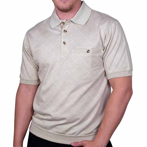 Safe Harbor French Terry Short Sleeve Banded Bottom Shirt 6190-114 Khaki