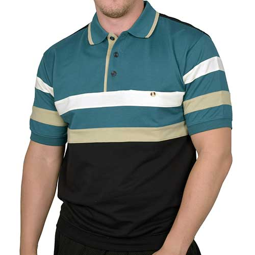 Safe Harbor Allover Short Sleeve Banded Bottom Shirt 6190-130 Green