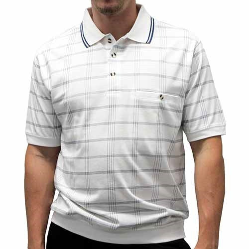 Safe Harbor Allover Short Sleeve Banded Bottom Shirt 6190-134BT White - bandedbottom