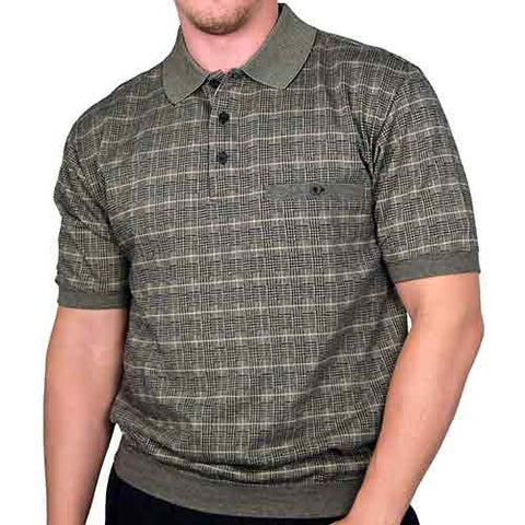 Safe Harbor Allover Short Sleeve Banded Bottom Shirt 6190-136 Big and Tall Khaki