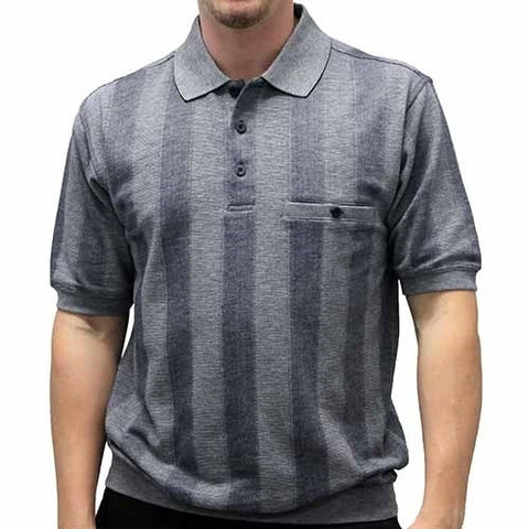 Safe Harbor Allover Short Sleeve Banded Bottom Shirt 6190-138 Navy - bandedbottom