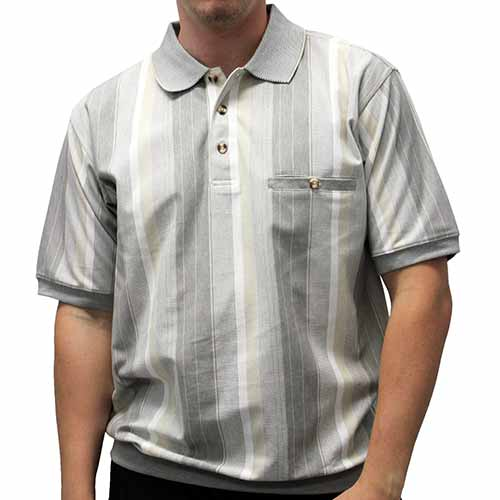 Safe Harbor Allover Short Sleeve Banded Bottom Shirt 6190-143 Khaki - theflagshirt