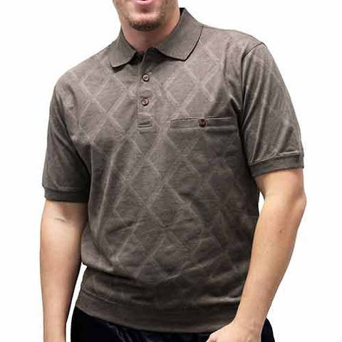 Classics By Palmland Diamond Short Sleeve Banded Bottom Shirt - Bootstrap 6190-149 - theflagshirt