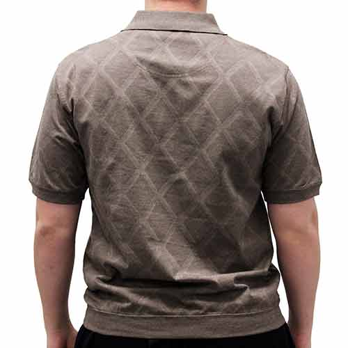 Classics By Palmland Diamond Short Sleeve Banded Bottom Shirt - Taupe 6190-149BT - theflagshirt