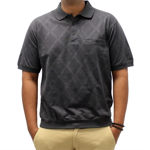 Safe Harbor Diamond Short Sleeve Banded Bottom Shirt - Black - bandedbottom