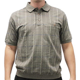 Classics By Palmland Allover Short Sleeve Banded Bottom Shirt 6190-154 Khaki - theflagshirt