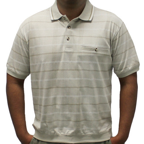 Classics By Palmland Allover Short Sleeve Banded Bottom Shirt 6190-160 Taupe - theflagshirt