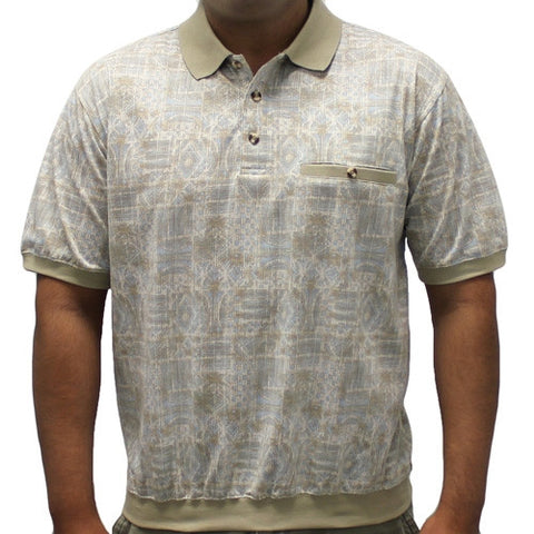 Classics By Palmland Allover Short Sleeve Banded Bottom Shirt 6190-161 Taupe - theflagshirt