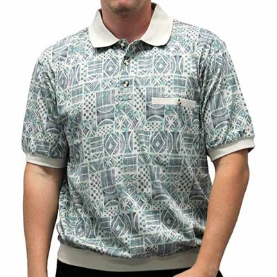 Classics By Palmland Allover Short Sleeve Banded Bottom Shirt 6190-162 Sage - theflagshirt