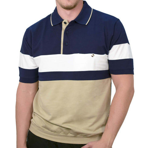 Classics By Palmland Knit Short Sleeve Banded Bottom Shirt 6190-163 Navy - theflagshirt