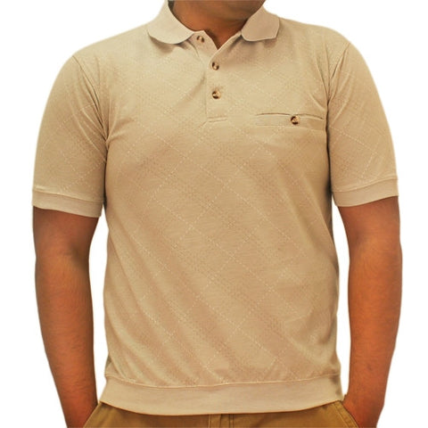 Safe Harbor Allover Short Sleeve Banded Bottom Shirt 6190-181 Taupe - bandedbottom