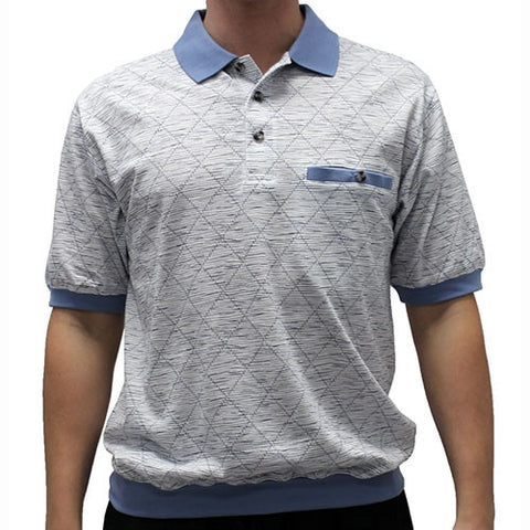 Classic by Palmland Allover Short Sleeve Banded Bottom Shirt 6190-184 - bandedbottom