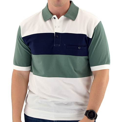 Classics by Palmland  Short Sleeve 3 Button Banded Bottom Knit Collar 6190-189 Sage - bandedbottom