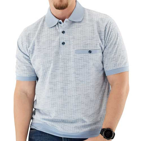 Short Sleeve 3 Button Banded Bottom Knit Collar Shirt - LtBlue - bandedbottom