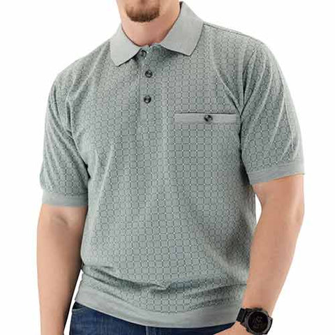 Short Sleeve 3 Button Banded Bottom Knit Collar Sage