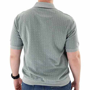 Short Sleeve 3 Button Banded Bottom Knit Collar Shirt - 6190-191 Big and Tall Sage - theflagshirt