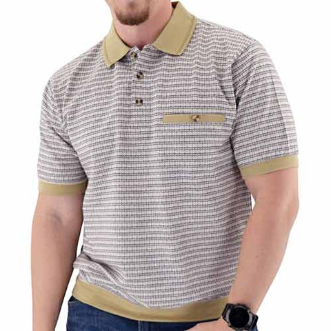 Short Sleeve 3 Button Banded Bottom Knit Collar White - 6190-193 - bandedbottom
