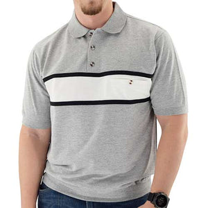 Classics by Palmland Short Sleeve Banded Bottom Shirt Big and Tall - 6190-196 Grey Hth - theflagshirt
