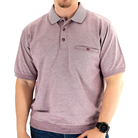 Classics by Palmland Short Sleeve Banded Bottom Shirt 6190-317 Burgundy - theflagshirt
