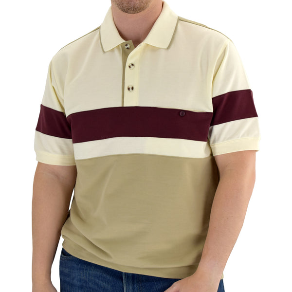 Classics by Palmland Short Sleeve Polo Shirt 6190-328 - Natural - theflagshirt