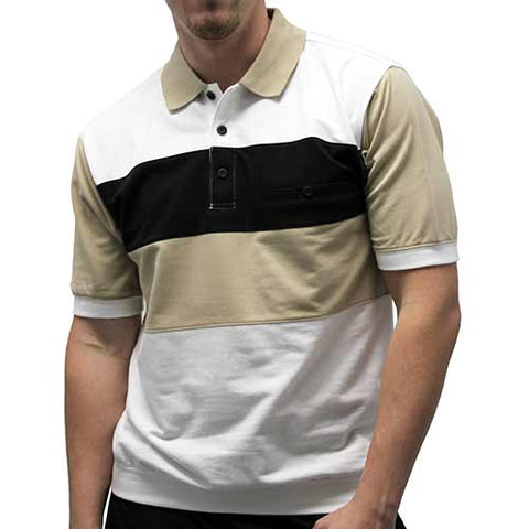 Classic by Palmland Allover Short Sleeve Banded Bottom Shirt 6190-352 - theflagshirt