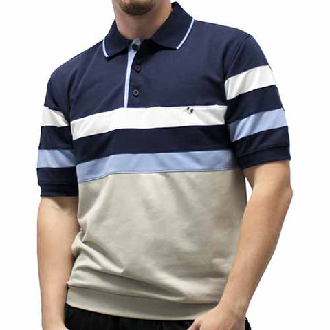 Classic by Palmland Short Sleeve Banded Bottom Shirt 6190-353 Navy - theflagshirt