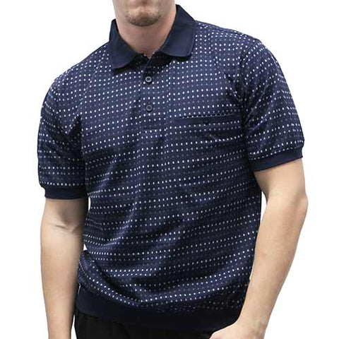 Classic by Palmland Allover Short Sleeve Banded Bottom Shirt 6190-354 Big and Tall - Navy - theflagshirt