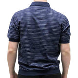 Classic by Palmland Allover Short Sleeve Banded Bottom Shirt 6190-354 Navy - theflagshirt