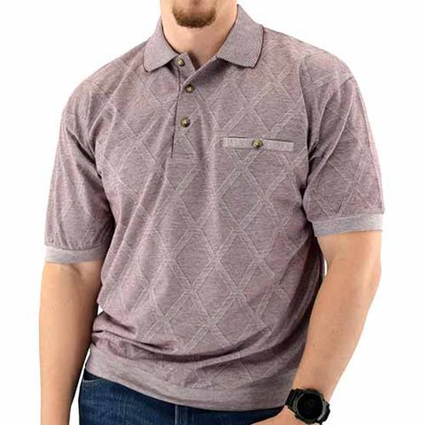 Classics By Palmland Allover  Short Sleeve 3 Button Banded Bottom Knit Collar Shirt Burgundy - theflagshirt