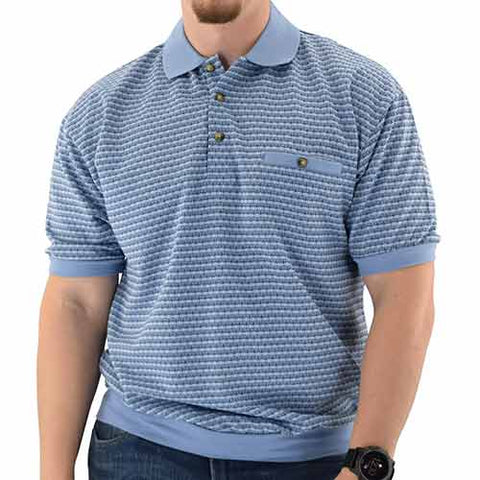 Short Sleeve 3 Button Banded Bottom Knit Collar Shirt - Big and Tall Lt Blue - 6191-201BT - bandedbottom
