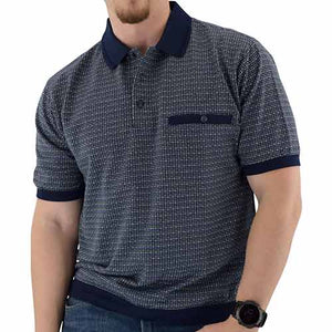 Classics by Palmland Short Sleeve 3 Button Banded Bottom Knit Collar - Big and Tall Navy - 6191-201BT - theflagshirt