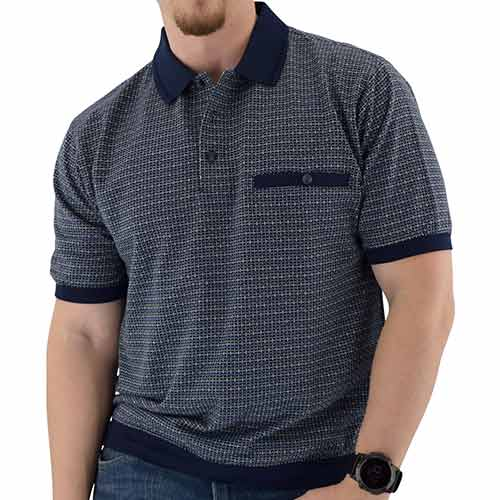 Classics by Palmland Short Sleeve 3 Button Banded Bottom Knit Collar Navy - 6191-201 - theflagshirt