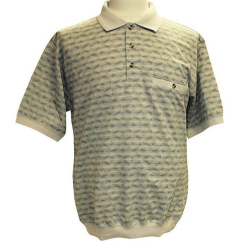 Safe Harbor Allover Short Sleeve Banded Bottom Shirt Stone 6191-317 Stone - bandedbottom