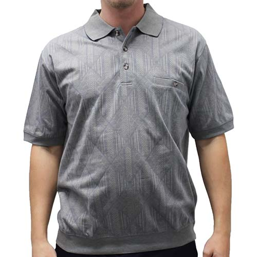 Safe Harbor Allover Short Sleeve Banded Bottom Shirt - 6191-318 Grey - theflagshirt